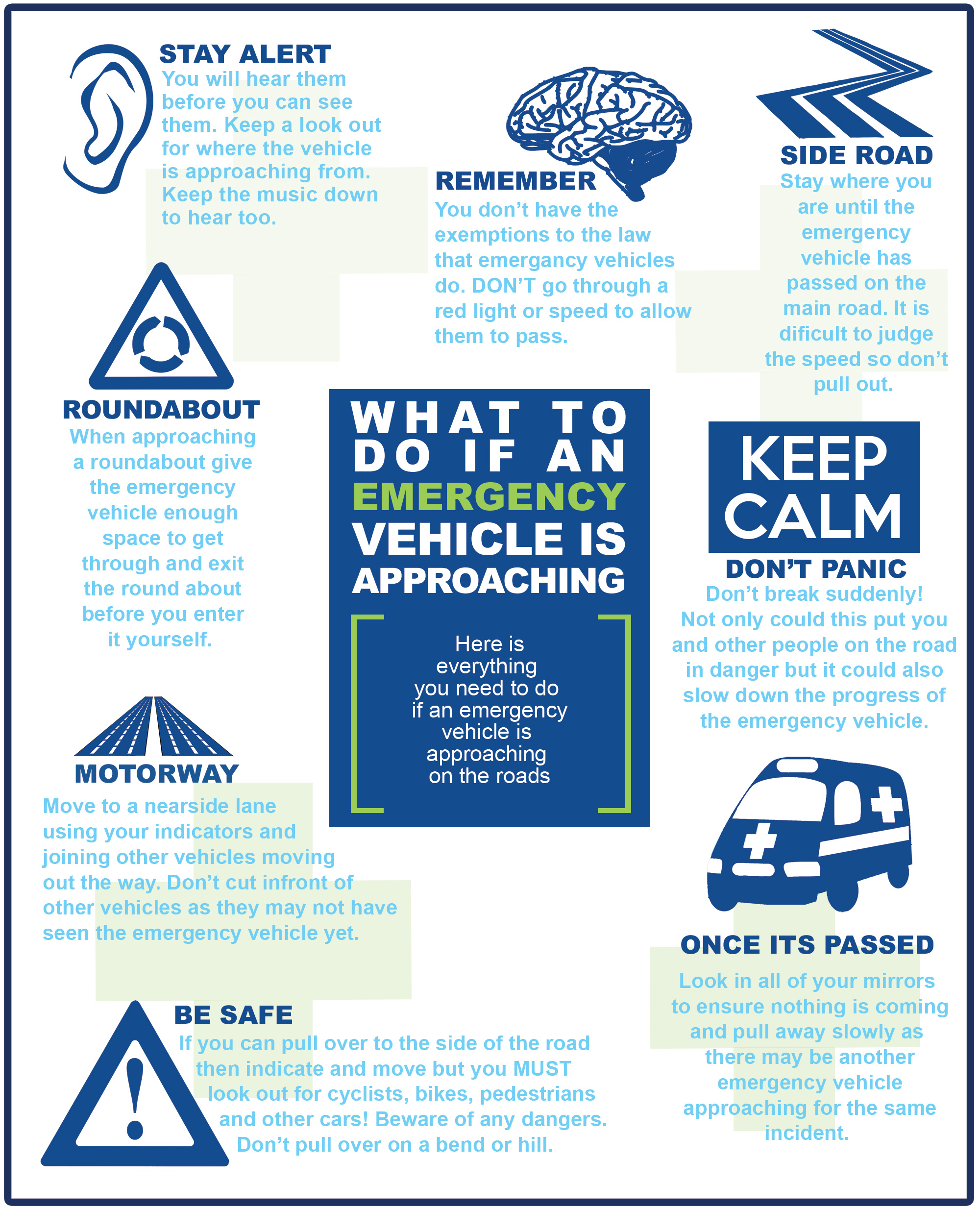 Infographic - What to do if an emergency vehicle is approaching