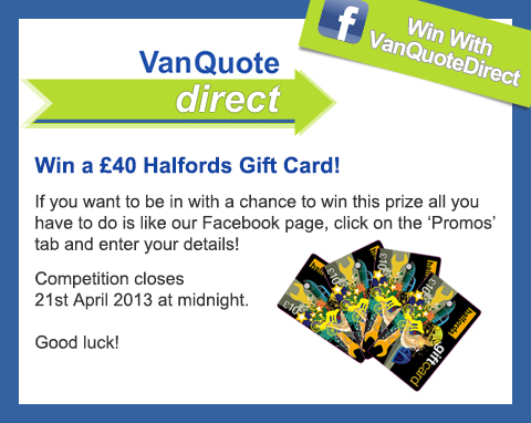 VQD Facebook Competition Halfords Gift Card